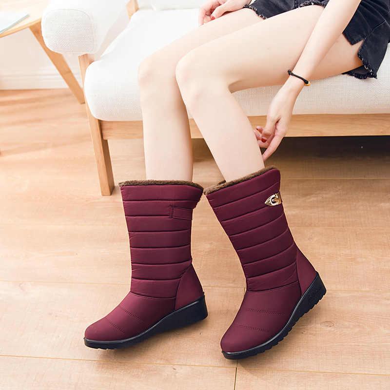 2019 su geçirmez orta buzağı çizmeler kadın çizmeler sıcak kış ayakkabı kadın takozlar kar botları kadınlar üzerinde kayma kışlık botlar