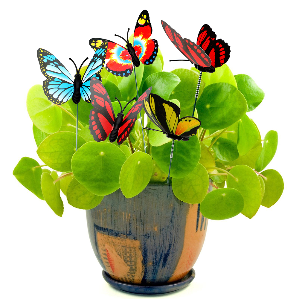 5 Pcs/Bunch Butterfly Flower Pots Decoration Outdoor Decor Colorful Butterfly Stakes Garden Supplies
