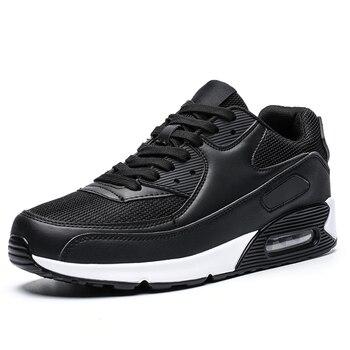 All Season Unisex Fashion Sneakers Men Hip Hop Shoes Spring Men's Air Cushion Mesh Sport Shoes Casual Shoes Men Male Footwear - Black - White, 5