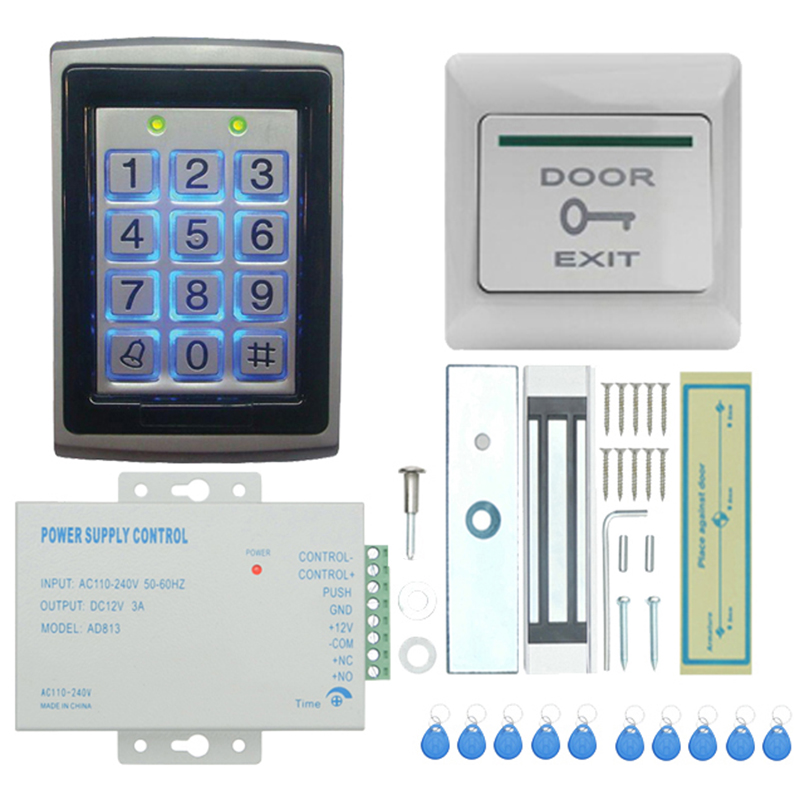 Door Access Control System, Electric Magnetic Door Lock Access Control Card Password Door Home Security System Kit with 180Kg Ma