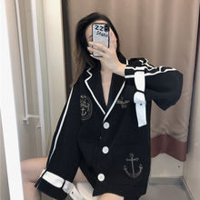 Women Blazers British College Style Black Blazer Female 2020