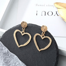 like hot cakes product personality exaggerated irregular geometrical heart-shaped ms alloy stud earrings accessories retro style sand surface ball shaped alloy stud earrings