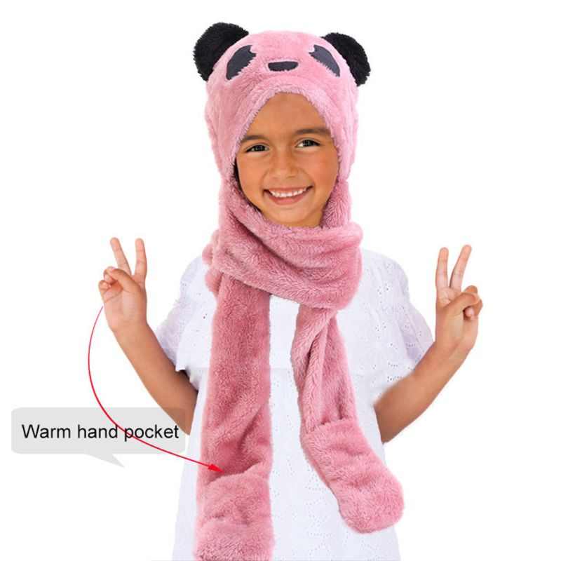 Toddler Kid Winter Cute Animal Panda Bear Pompom Ear 3 In 1 Scarf Hat Gloves Set C6UD