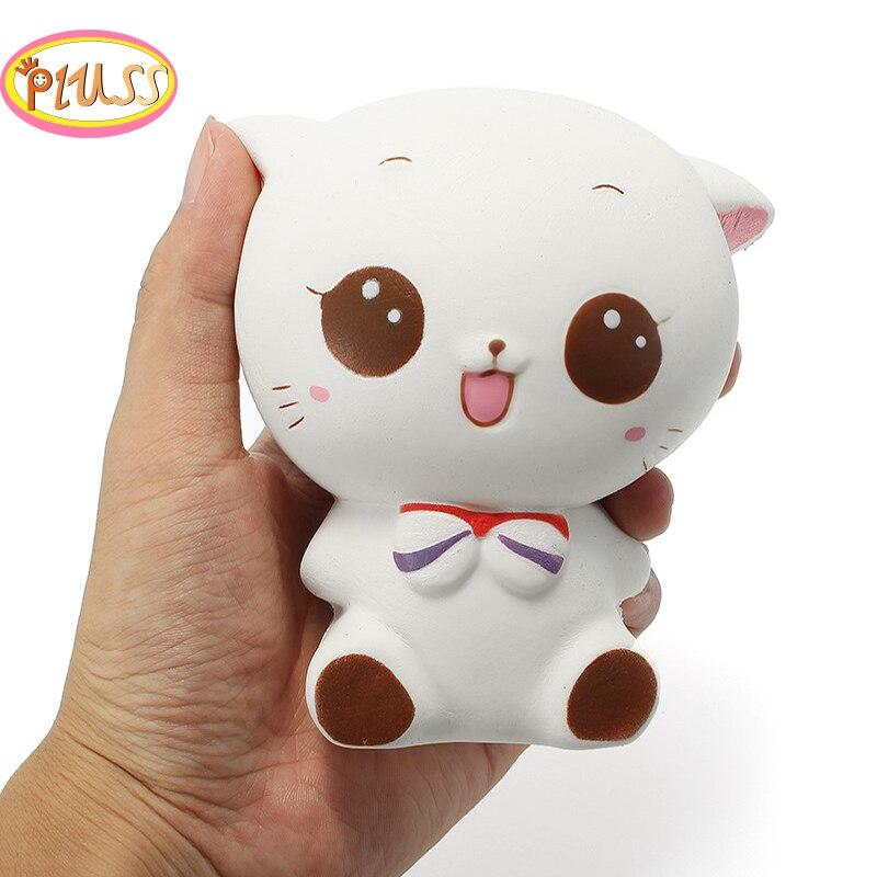 Cute White Cat Squishy Kawaii Slow Rising Squeeze Toys Healing Fun Kids Kawaii Kids Adult Toy Stress Reliever Decor