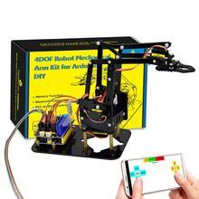 Keyestudio 4DOF Acrilico Giocattoli Robot Braccio Meccanico Artiglio Kit per Arduino Robot FAI DA TE