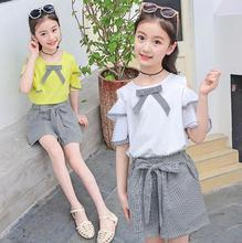 Teenage Girls clothing sets Fashion lace dew shoulder t-shirt Blouse + Shorts Party Two Piece Suit Kids Summer clothes Outfits cold shoulder lace up striped blouse