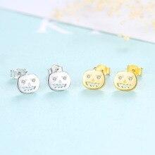YUEYIN 100% 925 Silver Earrings Halloween Jewelry Pumpkin Stud 18K Gold Plated Cute Lovely for Girls Women New