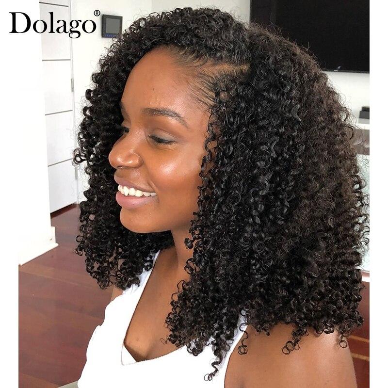 Афро кудрявые U часть парик 250% плотность человеческие волосы бразильские девственные волосы Upart парики 3b 3c кудрявые для черных женщин Dolago
