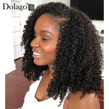 Afro perwersyjne kręcone U część peruka 250% gęstość ludzki włos brazylijski dziewiczy włosy Upart peruki 3b 3c perwersyjne kręcone dla czarnej kobiety Dolago