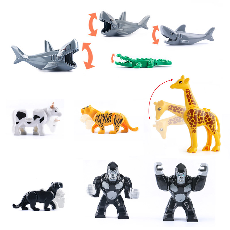 Animal Building Blocks Brick Mammoth Orangutan Tiger Dinosaur Elk Wolf Horse Mini Figure Toy For Children Compatible With LegoED