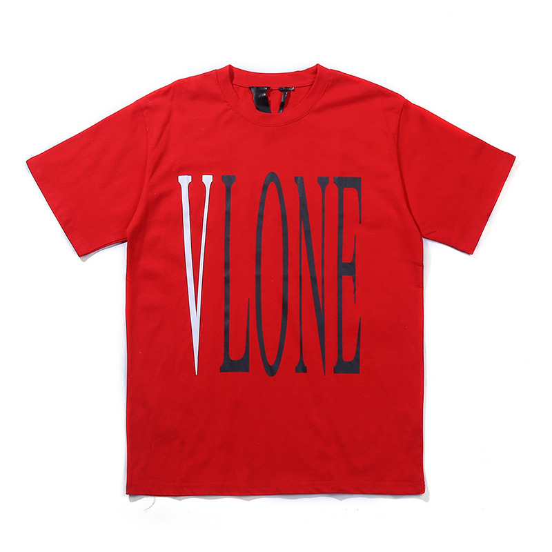 Vlone Base-Logo Red Pure Cotton Short Sleeve Men And Women Celebrity Style Purchasing Agents