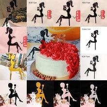 Yeni yüksek topuklu bayan mutlu doğum günü akrilik kek Topper düğün kızlar kek Toppers 16 18 21 doğum günü partisi kek süslemeleri