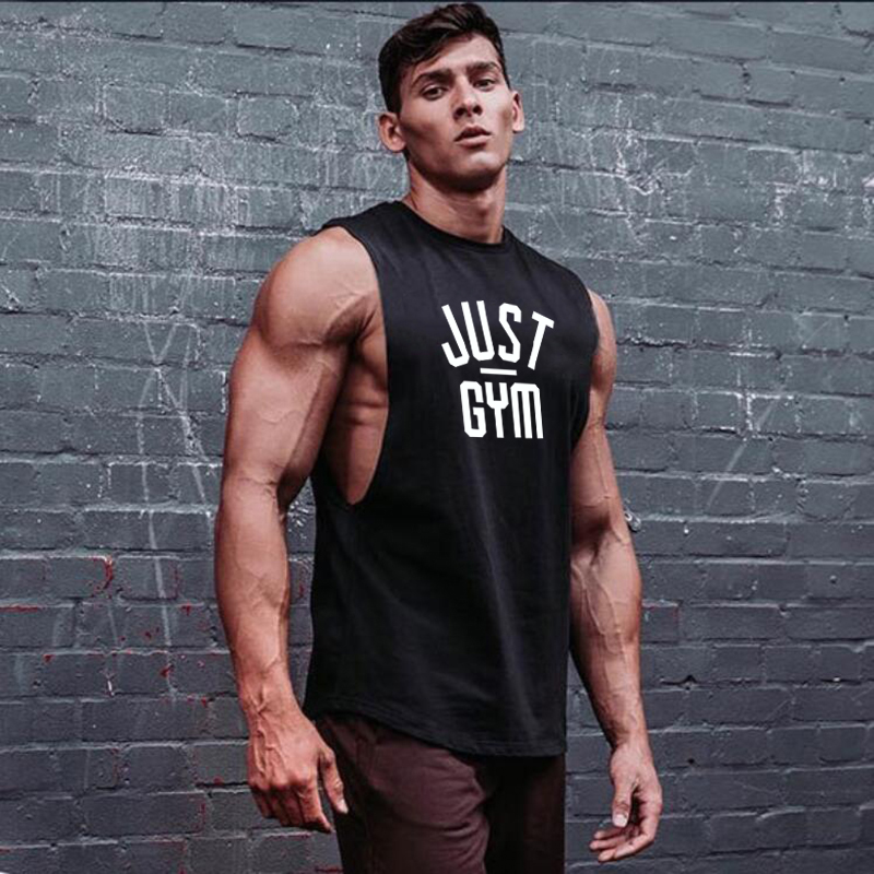 Just Gym Brand Fitness Drop Armhole Tank Top Men Gym Clothing Canotte Bodybuilding Tanktop Sleeveless Shirt Workout Vest