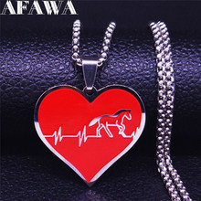 Heartbeat Horse Stainless Steel Chain Necklace for Women Necklace Chain Jewelry joyas de acero inoxidable para mujer N770S01 summer mermaid stainless steel long necklace men women silver color necklace jewelry collar acero inoxidable mujer nzz5s03