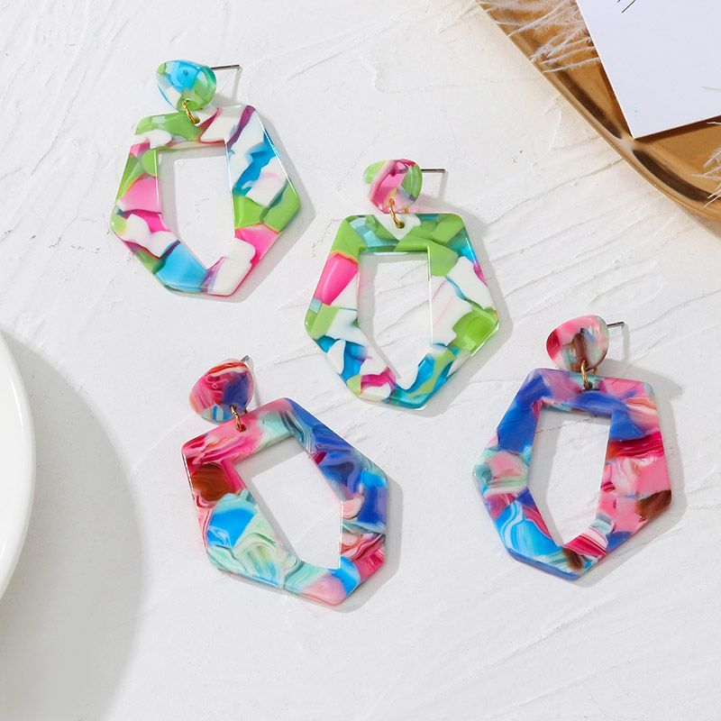 POXAM Acrylic Statement Earrings for women Geometric Pendant Fashion 2020 Jewelry Drop Hanging Dangle Earring Charm Colorful