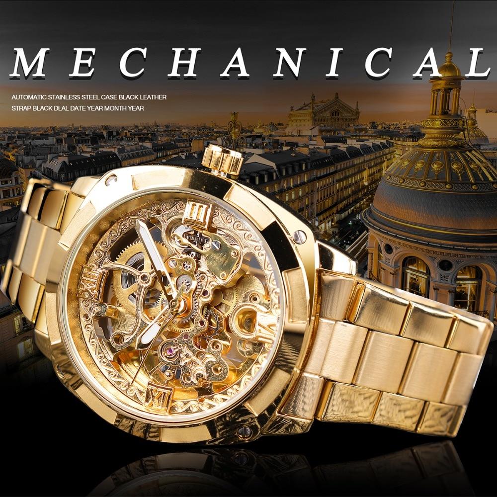 Hf9e2f6f84e914485bf566acdd2e93a58u Forsining 2018 Fashion Retro Men's Automatic Mechanical Watch Top Brand Luxury Full Golden Design Luminous Hands Skeleton Clock