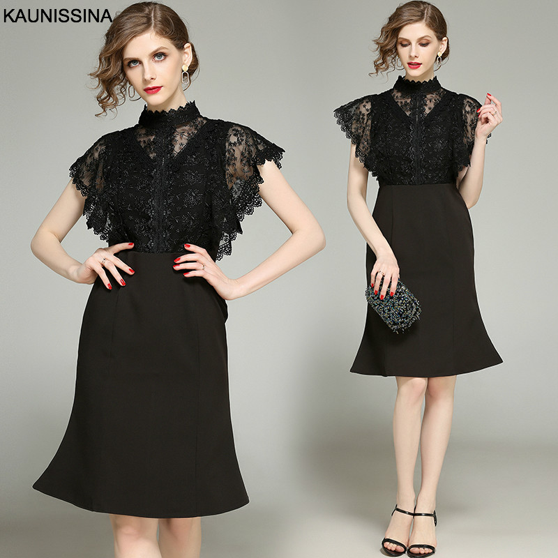 KAUNISSINA Black Cocktail Dress Party Robe Knee Length Lace Patchwork Short Back Zipper Homecoming Dresses Mermaid Prom Gown
