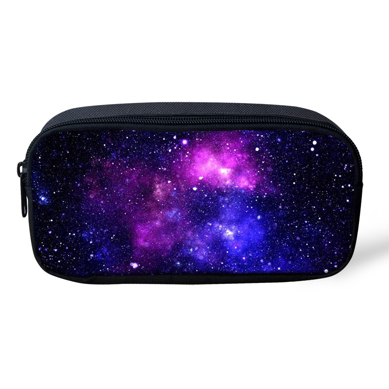 ThiKin Personality Galaxy Stars Printing Makeup Bag For Women Pen Bags Pouch For Students School Kid Pencil Case Custom