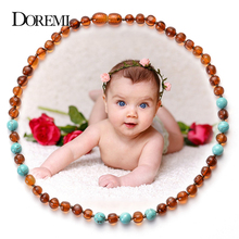 DOREMI Natural Stone Baltic Amber Necklace for Baby Turquoises Ambers Beads(Cognac) Bracelet Jewelry Kid