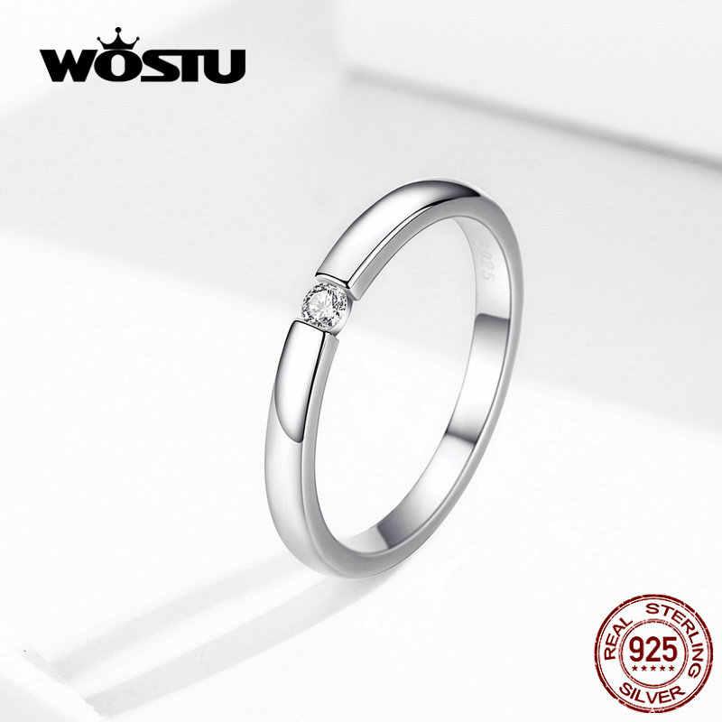 WOSTU Аутентичные Серебряные кольца на палец 925 пробы 2020 Новое поступление прозрачные маленькие циркониевые кольца свадебный подарок BKR542