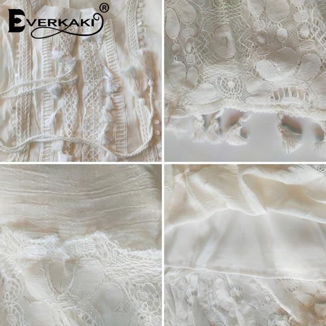 Everkaki bohemio-Vestido corto de manga larga para verano, minivestido con estampado étnico y hombros descubiertos para mujer, con borlas de encaje, 2020 6