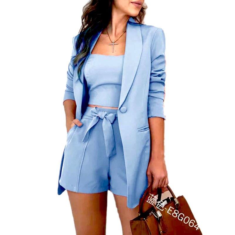 3 Piece Set Autumn Women Fashion Lace Up Shorts Slim Fit Bra Tops Long Sleeves Coat Loose Suit Jacket Women Sweat Suit Set