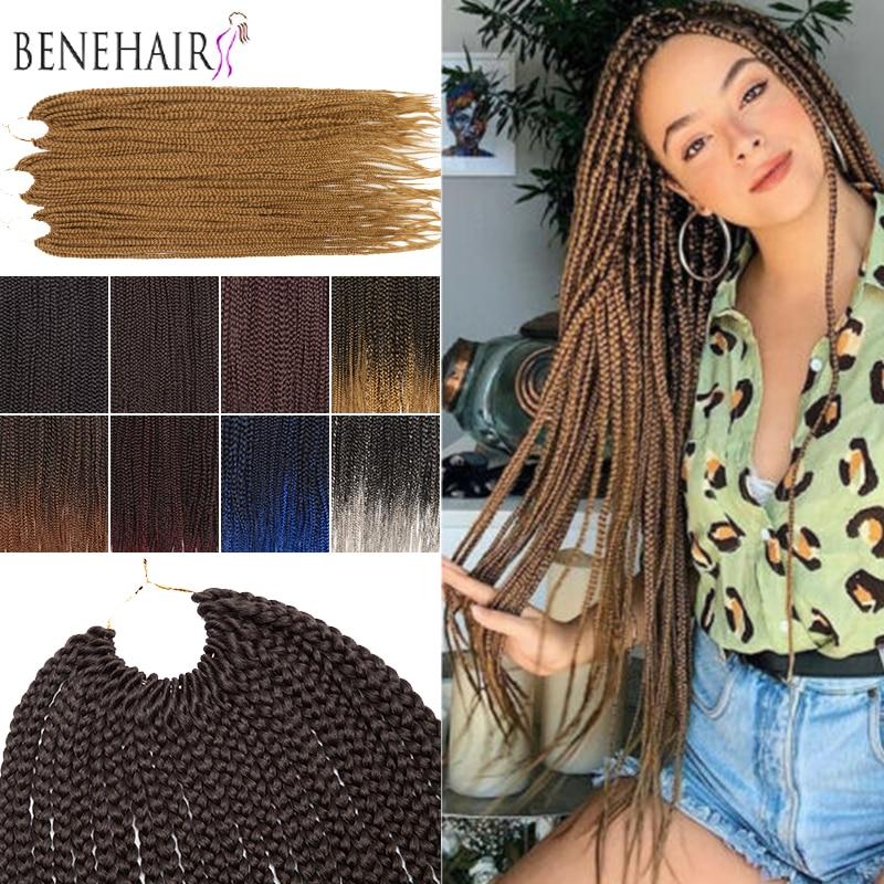BENEHAIR Crochet Braiding Hair Ombre Box Braid Hair Extensions Synthetic Crochet Hair Braids Heat Resistant Braiding Hair