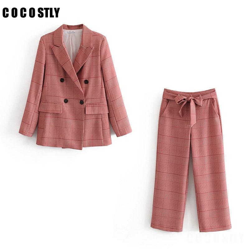 2 Piece Set Women Suit Casual Temperament Double-breasted Plaid Jacket Office Female Pants Suit 2020 Autumn Women's Clothing