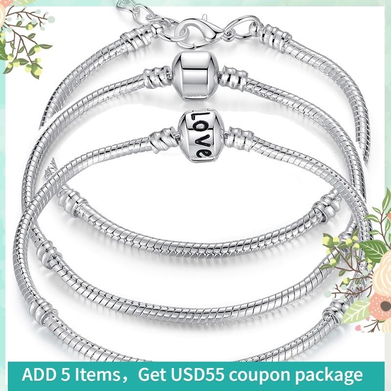 TANIE! Hurtownie 5 stylów wąż łańcuch srebrne bransoletki dla kobiet fit Charms koraliki DIY tworzenia biżuterii Pulseras Homar HJ9002