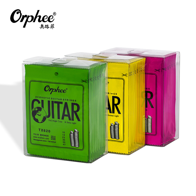 Orphee TX Series Acoustic Guitar Strings Green Phosphor Folk Hexagonal Carbon Steel Classic Guitar String Music Instruments
