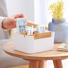 Bamboo Desk Organizer Desktop Storage Box Cosmetic Multi-functional Display Drawer Tissue