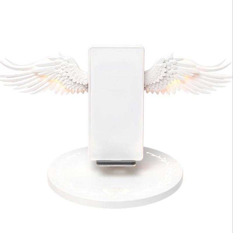Asas de Anjo moda 10W Carregador Rápido Para XiAOMI Huawei Carregador Sem Fio Doca iPhone Samsung Suporte Do Telefone Night Light Nova ins - 2