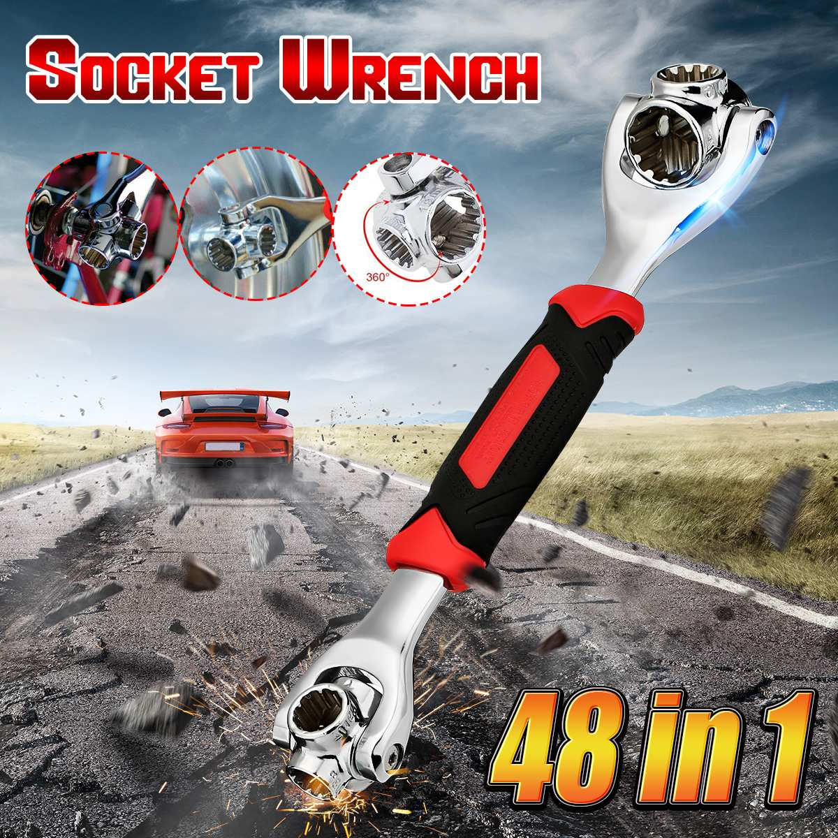 New Universal 360 Degree 48 in 1 Tools Socket Steel Tiger Wrench with Spline Bolts Torx 6-Point Furniture Car Repair Hand Tools