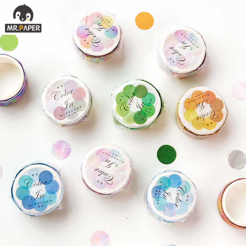 Mr.Paper 14*14mm Hard Candy Dot Color Washi Journaling Writing Memory Washi Tape Deco Gift Label Ins Masking Tapes Easy to Tear 3