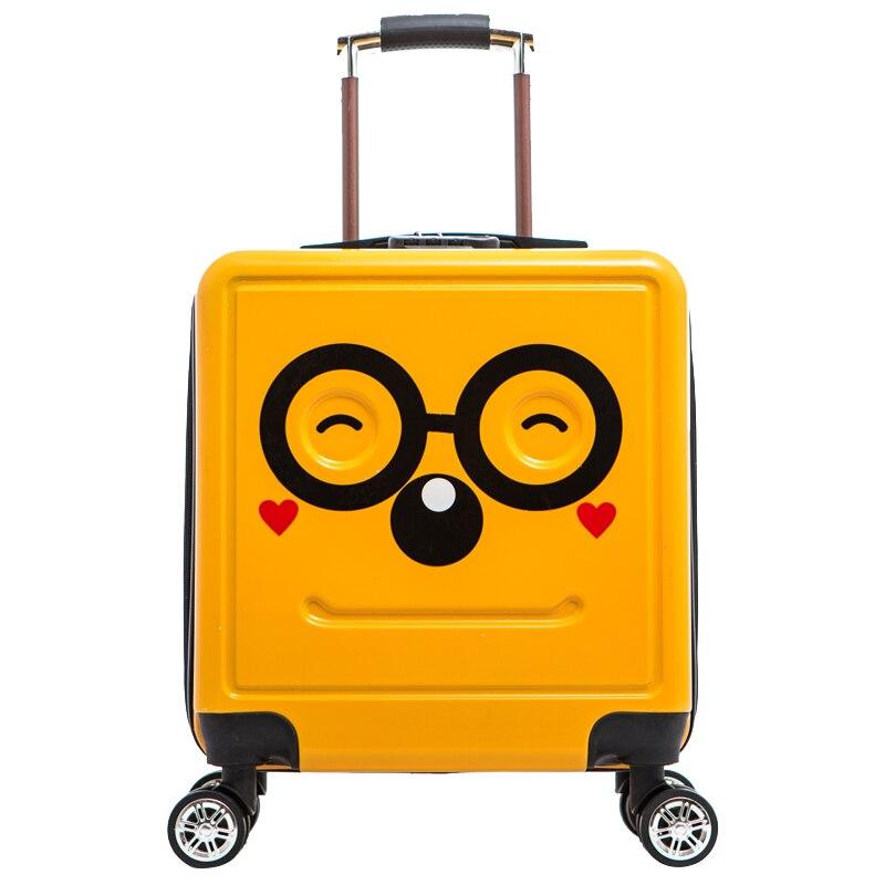 HOT 18 Inch Cute Cartoon Students Trolley Case Child 3D Travel Luggage Kids Rolling Suitcase Fashion Wheels Boy Boarding Box
