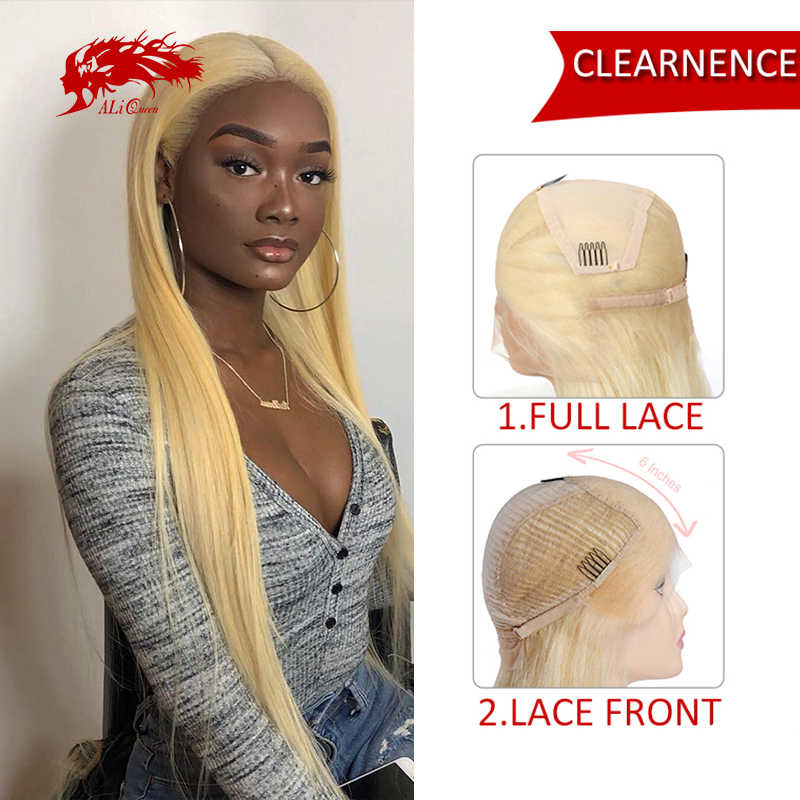 【Clearence】 Ali Queen Rambut Pirang 613 Lurus Lace Front Wig / Full Lace Wig Kerapatan 150% Brasil Remy Rambut Manusia wig