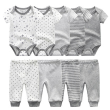 Solid Bodysuits+Pants Baby Boy Clothes Clothing Sets 0 12M Baby Boy Girl Clothes Unisex Newborn Baby Cotton Roupa de bebe
