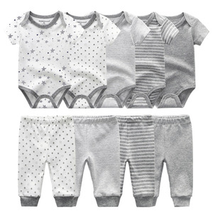 Solid Bodysuits+Pants Baby Boy Clothes Clothing Sets 0-12M Baby Boy Girl Clothes Unisex Newborn Baby Cotton Roupa de bebe(China)