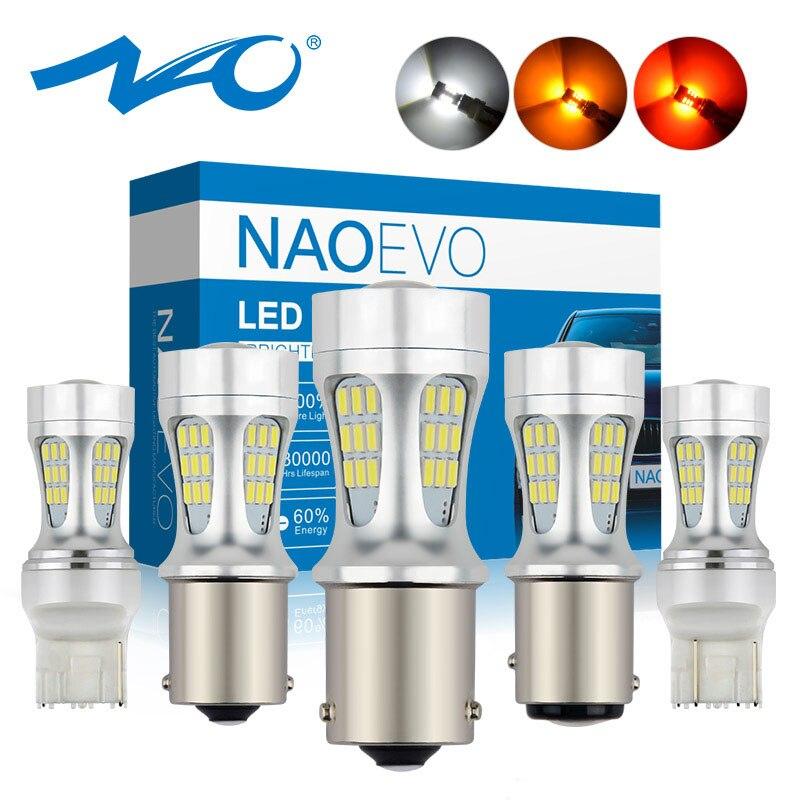 NAO T20 7443 P21W светодиодный P21 5 W PY21W 12V 1156 BA15S автомобильный DHO светильник 1157 BAY15D Авто Лампа W21/5 W 7440 T25 W21W BAU15S ходовая лампа