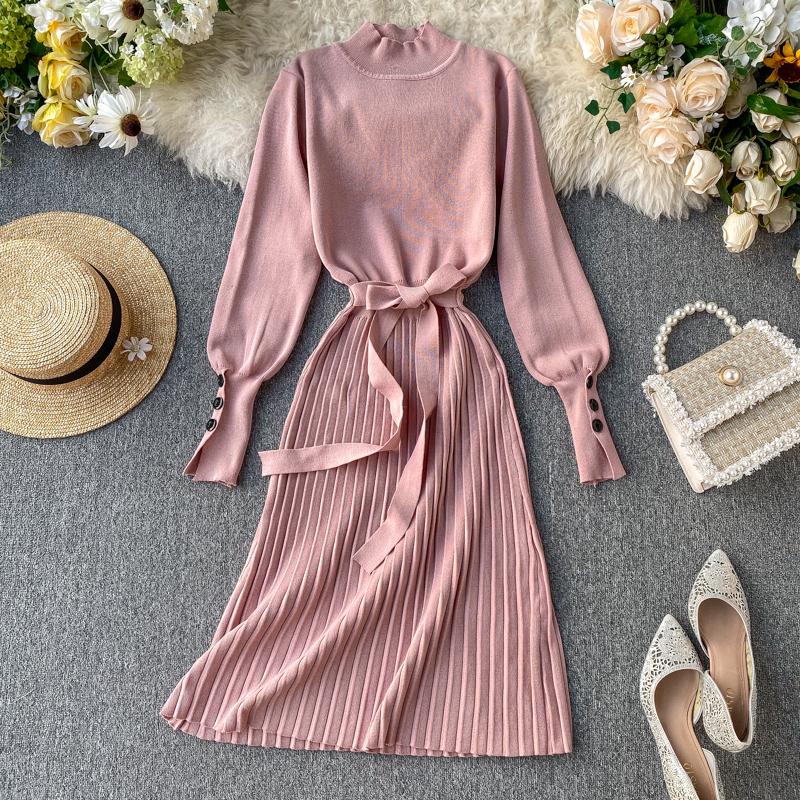 ALPHALMODA High Collar Buttons Sleeve Pleated Women Autumn Winter Sashes Tie Pleated Knit Dress Female Vintage Classical Dress 69