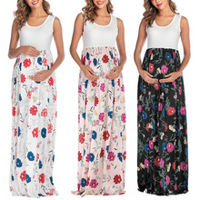 Women Ladies Maternity Floral Print Round Neck Sleeveless Long Dress Women Pregnancy Patchwork Maxi Dress одежда для беремееных fashionable women s bowknot decorated sleeveless pink round neck dress
