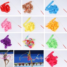 2 Meters 4M 6M Colorful Gym Ribbons Dance Ribbon Rhythmic Art Gymnastics Ballet Streamer Twirling Rod Rainbow Stick Training
