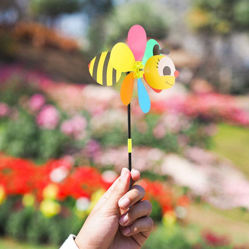 Hot 6Pcs Bee Wind Spinners Pinwheels 3D Animal Windmills Garden Stakes Ornaments for Lawn Yard Patio Party Decor