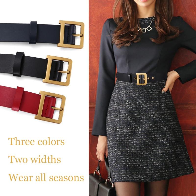 Women's Leather Wide Belt Two Width Pin Buckle Casual Pants Belt Four Seasons Universal Fashion Monochrome Belt