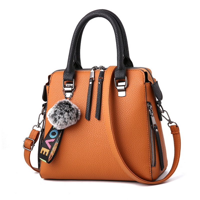 SHUJIN PU Leather Women HandBags 2020 Messenger Bag Fur Ball Crossbody Flap Bags Female Shoulder Bag Solid Color Handbags 1