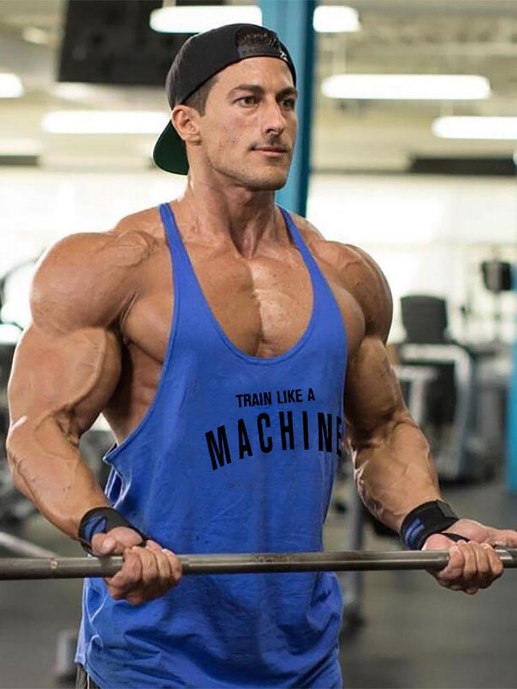 Gym Mens Tank Top Vest Muscle Fashion Sleeveless Stringer Brand Back Clothing Bodybuilding Singlets Fitness Workout Sports Shirt