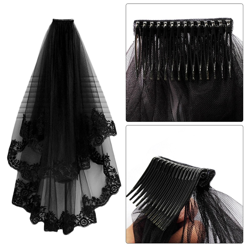 NEW-Wedding Veil Cathedral Hair Veil With Comb Lace Edge Two Layers Tulle Short Bridal Veil Wedding Accessories Party Dress