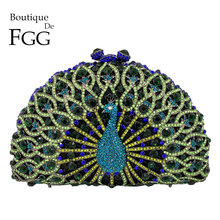 Boutique De FGG Green Crystal Women Peacock Clutch Evening Bag Party Minaudiere Handbag Wedding Clutches Bridal Diamond Purse