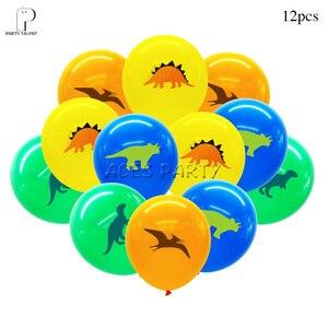 Image 2 - Meninos crianças 2019 novo tema dino toalha de mesa capa festa aniversário utensílios de mesa balão caixa de doces placa de bandeira copo suprimentos