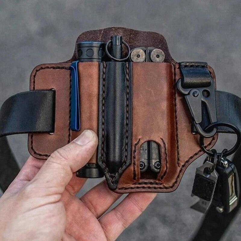 Уличный кожаный футляр для ножей, карманы, держатель для мультитулов, органайзер, сумка на пояс, карманный фонарик для охоты